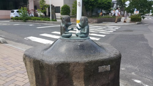 Two 'Kappas' at 'Ge ge ge no Kitarou' road a famous Japanese Manga in Tottori. Japan