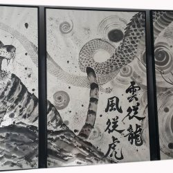 sumi-e painting, tiger and dragon