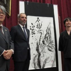 Live Painting University of  Seville with the Japanese Ambassador and the Consul