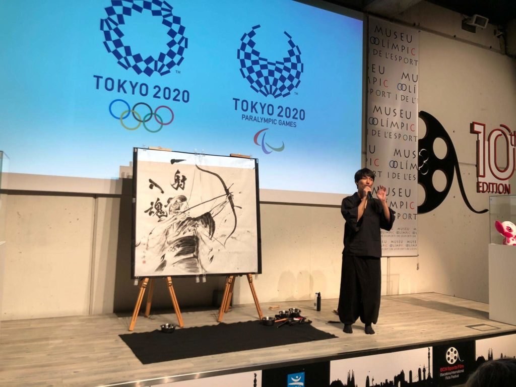 Live painting at the reception party for Tokyo 2020